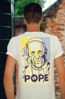 Immagine di 'T-shirt Papa Francesco giallo e ciano - taglia S - uomo'