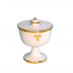 """Copertina di 'Pisside in ceramica simbolo TAU  """"Modello Bianco oro"""" - 14 cm'"""