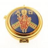 """Teca eucaristica porta ostie smaltata """"Cristo in trono"""" - diametro 5,3 cm"""