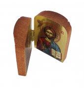 Immagine di 'Dittico stile icona, Cristo Pantocratore e Madonna di Vladimir, sfondo lucido, produzione greca in legno - 7 x 4,5 cm'