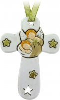Croce in resina bianca cm 8,5 con angelo e stelle di  su LibreriadelSanto.it