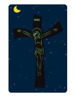 Immagine di 'Croce in resina ad effetto pietra con incisioni luminescenti -  dimensioni 29x19 cm'
