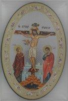 Immagine di 'Icona Crocifissione stampa su legno ovale - 12 x 18 cm'