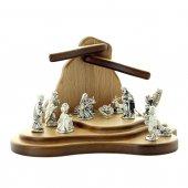 Presepe in legno con LED e personaggi in metallo argentato - dimensioni 10x15 cm