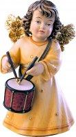 Statuina dell'angioletto con tamburo, linea da 10 cm, in legno dipinto a mano, collezione Angeli Sissi - Demetz Deur
