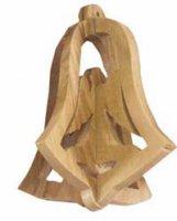 Campana tridimensionale in legno d'ulivo con angelo - dimensioni 6,5x4 cm
