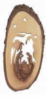 Natività con cielo stellato in corteccia d'ulivo