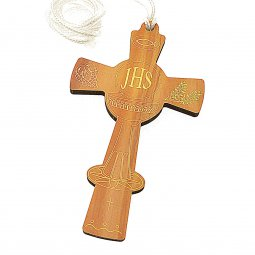 Copertina di 'Croce comunione da collo in legno chiaro (11 x 6)'