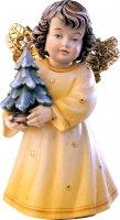 Statuina dell'angioletto con alberello di Natale, linea da 10 cm, in legno dipinto a mano, collezione Angeli Sissi - Demetz Deur
