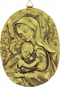 Copertina di 'Quadro Madonna con Bambino ovale in resina dipinta a mano - Bassorilievo - 12,5 x 16 cm'