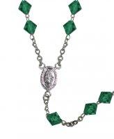 Immagine di 'Rosario con grani in cristallo rondello da Ø 8 mm color verde con legatura in argento 925'