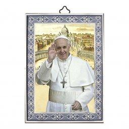 """Copertina di 'Icona in legno con cornice azzurra """"Papa Francesco"""" - dimensioni 14x10 cm'"""