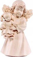 Statuina dell'angioletto con bambola, linea da 10 cm, in legno naturale, collezione Angeli Sissi - Demetz Deur