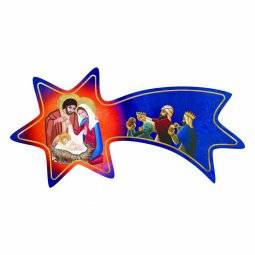 Copertina di 'Cometa blu in legno da appendere con Natività e Re Magi - dimensioni 6x12 cm'
