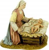 Gruppo Madonna inginocchiata con Gesù Bambino e culla per presepe cm 12 - Linea Martino Landi
