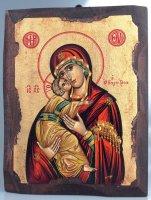 """Icona in legno dipinta a mano """"Maria Odigitria dal manto rosso"""" - dimensioni 21x16 cm"""