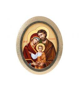 """Copertina di 'Icona ovale in polimero con cavalletto """"Sacra Famiglia"""" - 25 x 20 cm'"""