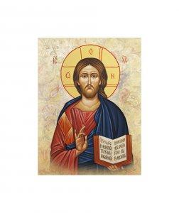 """Copertina di 'Quadro in legno e tela """"Gesù Maestro"""" - dimensioni 26x18 cm'"""