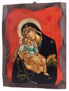 """Copertina di 'Icona in legno """"Madonna dolce amore dal manto nero e sfondo rosso"""" - dimensioni 21x16 cm'"""