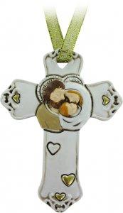Copertina di 'Croce Sacra Famiglia in resina bianca - 8,5 cm'