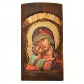 Icona in legno con Madonna della tenerezza in rilievo (h. 17 cm)