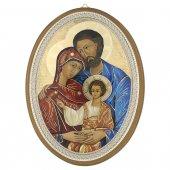 """Icona ovale in stile bizantino laccata oro """"Sacra Famiglia"""" - dimensioni 21,5x16 cm"""