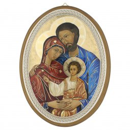 """Copertina di 'Icona ovale in stile bizantino laccata oro """"Sacra Famiglia"""" - dimensioni 21,5x16 cm'"""
