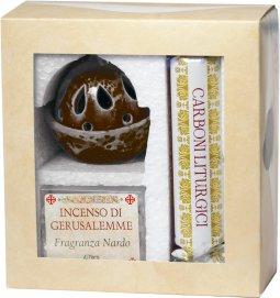 Copertina di 'Confezione brucia incenso marrone alla fragranza di nardo con kit di carboni liturgici'