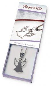 Copertina di 'Confezione con catenina argentata e medaglietta con angelo in acciaio inox'
