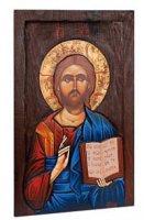 """Icona in legno dipinta amano """"Gesù Maestro""""- dimensioni 45x27cm"""