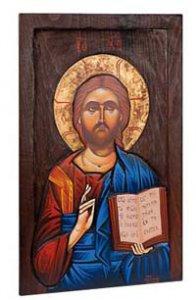 """Copertina di 'Icona in legno dipinta amano """"Gesù Maestro""""- dimensioni 45x27cm'"""