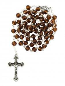 Copertina di 'Rosario con grani in cristallo sfaccettato da Ø 6 mm e legatura in metallo - colore marrone'