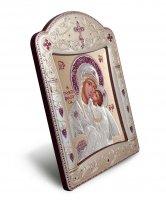 """Icona """"Madonna della tenerezza"""" greco ortodossa con cornice in argento"""
