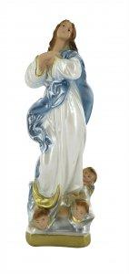 Copertina di 'Statua Madonna con angeli in gesso madreperlato dipinta a mano, Immacolata Concezione di Murillo - 20 cm'