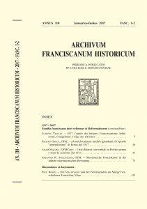Archivum Franciscanum Historicum n. 2017/1-2
