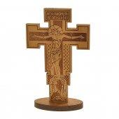 """Croce in legno d'ulivo con base """"Gesù Nazareno Re dei Giudei"""" - dimensioni 21x13 cm"""