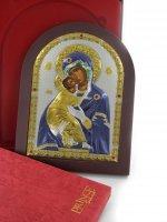 Immagine di 'Icona Madonna di Vladimir greca a forma di arco con lastra in argento - 20 x 26 cm'