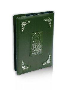 """Copertina di 'Coprilezionario in pelle con decori argentati """"Cristo Pantocratore"""" - colore verde'"""