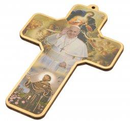 """Copertina di 'Croce in legno """"Papa Francesco, Maria che scioglie i nodi e san Francesco"""" - altezza 13 cm'"""