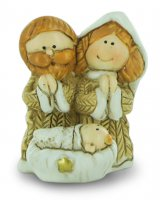 Natività in resina colorata, decorazione natalizia/soprammobile, piccolo presepe con Sacra Famiglia, 3 x 3,5 cm