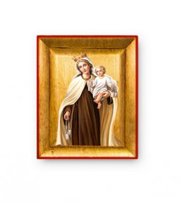 """Copertina di 'Quadretto in foglia d'oro """"Madonna del Carmine"""" - dimensioni 8x6,5 cm'"""