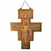 Croce di San Damiano in legno da appendere - dimensioni 114x83 cm
