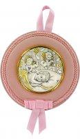 Sopraculla a forma rotonda con lastra in argento 925 di color rosa cm 12 - Angeli