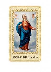 """Copertina di 'Immaginetta plastificata con preghiera """"Sacro Cuore di Maria"""" - dimensioni 6x10 cm'"""
