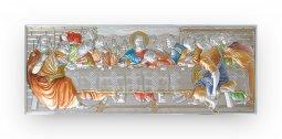 """Copertina di 'Icona in bilaminato d'argento con dettagli colorati """"Ultima Cena"""" - dimensioni 24x10 cm'"""