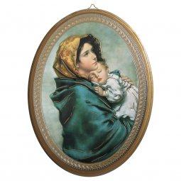 """Copertina di 'Icona ovale laccata oro """"La Madonnina"""" del Ferruzzi - dimensioni 21,5x16 cm'"""