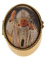 """Portarosario ovale in metallo """"Papa Giovanni Paolo II"""" - dimensioni 6x4 cm"""