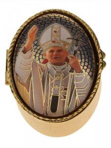 """Copertina di 'Portarosario ovale in metallo """"Papa Giovanni Paolo II"""" - dimensioni 6x4 cm'"""