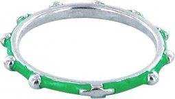 Copertina di 'Fedina rosario argento smaltata verde mm 26'
