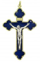 Croce in metallo dorato con smalto blu - 4 cm